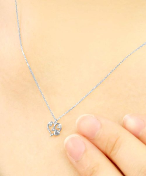 JEWELRY SELECTION(ジュエリーセレクション)/贅沢なオール18金ゴールド!K18ゴールド 天然ダイヤモンド ネックレス 選べる3カラー 【オープンハート/K18WG】/NSUZ12659001CTA40K18WG_img02