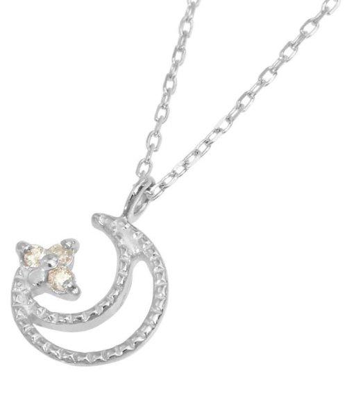 JEWELRY SELECTION(ジュエリーセレクション)/贅沢なオール18金ゴールド!K18ゴールド 天然ダイヤモンド ネックレス 選べる3カラー 【ムーンミル/K18WG】/NSUZ12662001CTA40K18WG_img01