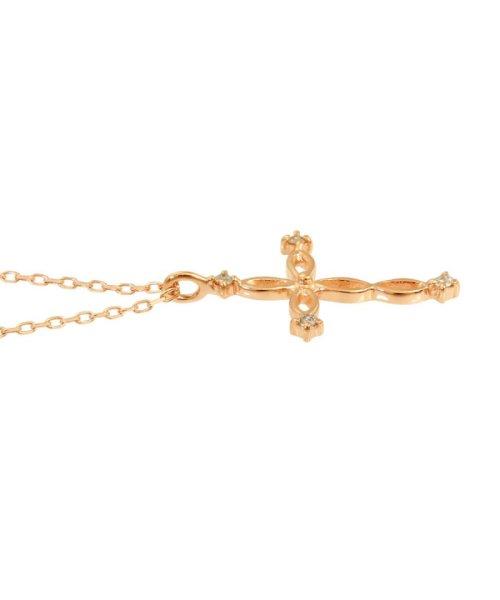 JEWELRY SELECTION(ジュエリーセレクション)/贅沢なオール18金ゴールド!K18ゴールド 天然ダイヤモンド ネックレス 選べる3カラー 【ツイストクロス/K18PG】/NSUZ12663001CTA40K18PG_img01
