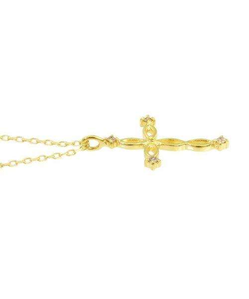 JEWELRY SELECTION(ジュエリーセレクション)/贅沢なオール18金ゴールド!K18ゴールド 天然ダイヤモンド ネックレス 選べる3カラー 【ツイストクロス/K18YG】/NSUZ12663001CTA40K18YG_img01