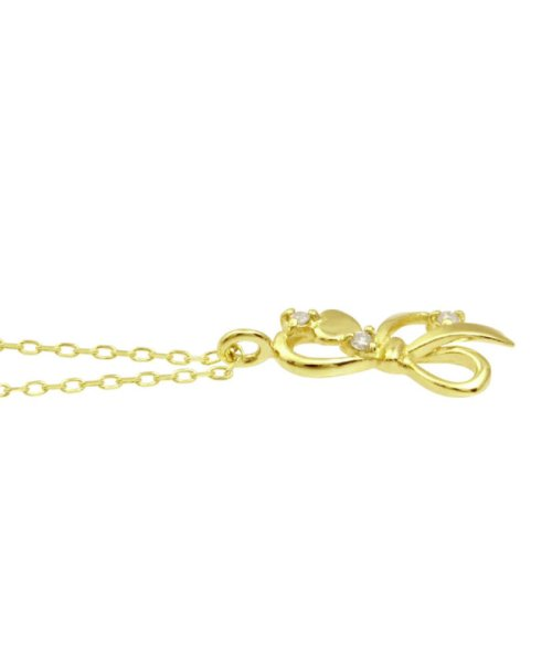 JEWELRY SELECTION(ジュエリーセレクション)/贅沢なオール18金ゴールド!K18ゴールド 天然ダイヤモンド ネックレス 選べる3カラー 【リボン/K18YG】/NSUZ12664001CTA40K18YG_img01