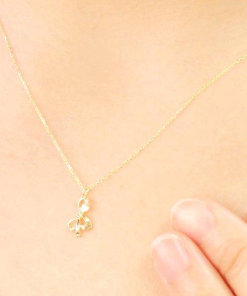 JEWELRY SELECTION(ジュエリーセレクション)/贅沢なオール18金ゴールド!K18ゴールド 天然ダイヤモンド ネックレス 選べる3カラー 【リボン/K18YG】/NSUZ12664001CTA40K18YG_img02