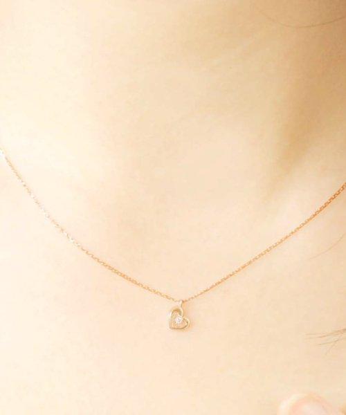 JEWELRY SELECTION(ジュエリーセレクション)/贅沢なオール18金ゴールド!K18ゴールド 天然ダイヤモンド ネックレス 選べる3カラー 【ハート/K18PG】/NSUZ12715001CTA40K18PG_img03