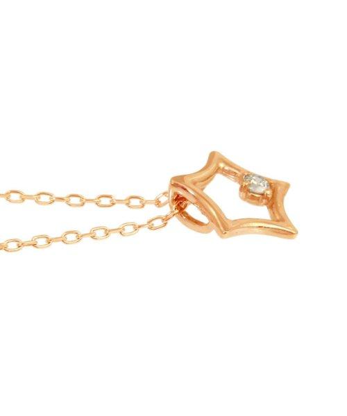 JEWELRY SELECTION(ジュエリーセレクション)/贅沢なオール18金ゴールド!K18ゴールド 天然ダイヤモンド ネックレス 選べる3カラー 【スター/K18PG】/NSUZ12722001CTA40K18PG_img03