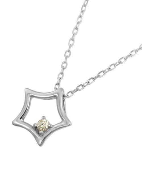 JEWELRY SELECTION(ジュエリーセレクション)/贅沢なオール18金ゴールド!K18ゴールド 天然ダイヤモンド ネックレス 選べる3カラー 【スター/K18WG】/NSUZ12722001CTA40K18WG_img01