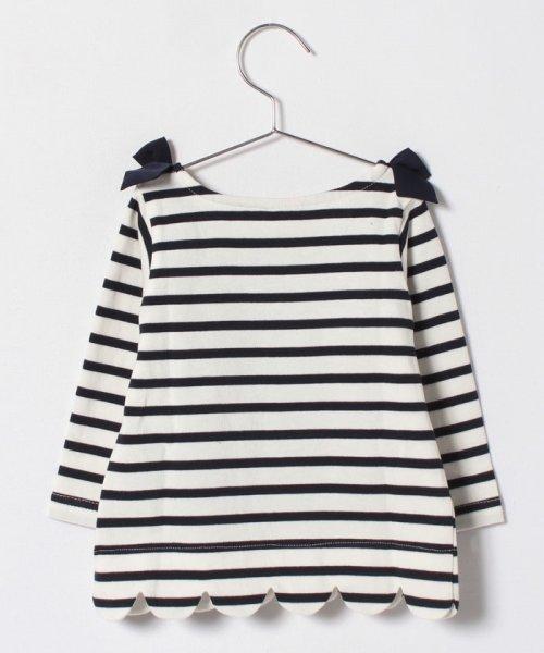 petit main(プティマイン)/肩リボンつき裾スカラップボーダーTシャツ/9681207_img01