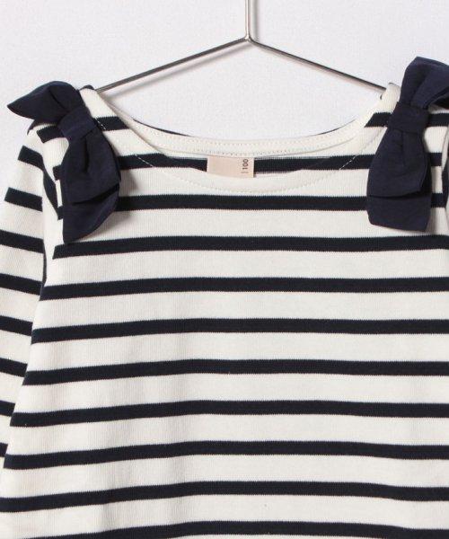 petit main(プティマイン)/肩リボンつき裾スカラップボーダーTシャツ/9681207_img02