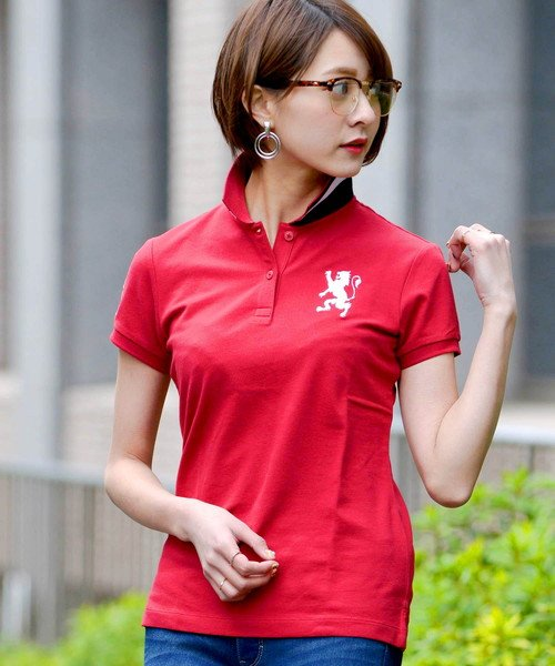 GIORDANOL(ジョルダーノ(レディース))/【ライクラ素材使用】3Dライオン刺繍ポロシャツ/GD18SS05318202_img01