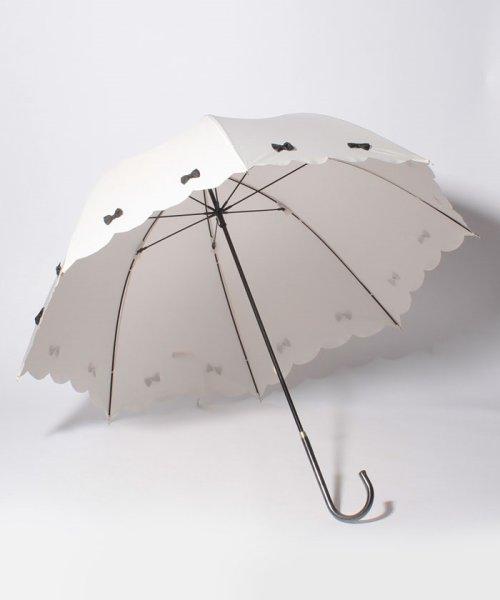 pink trick(ピンクトリック)/雨晴兼用 長傘 (UVカット&軽量) カラフルリボンオフホワイト×ブラック/87305_img01