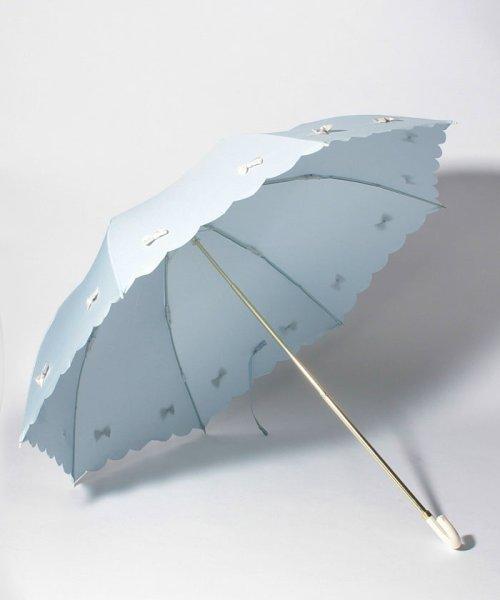 pink trick(ピンクトリック)/雨晴兼用 折傘 (UVカット&軽量) カラフルリボンサックスブルー×オフホワイト/87313_img01