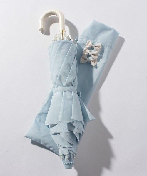 pink trick(ピンクトリック)/雨晴兼用 折傘 (UVカット&軽量) カラフルリボンサックスブルー×オフホワイト/87313_img02