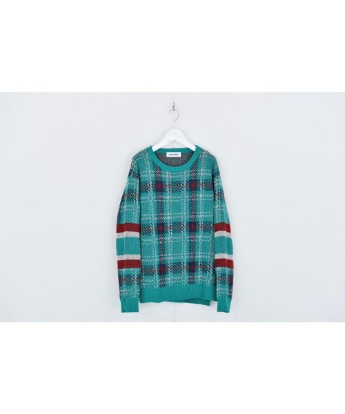 DISCOVERED(DISCOVERED)/Check line sweater/DCAW18KN03_img01