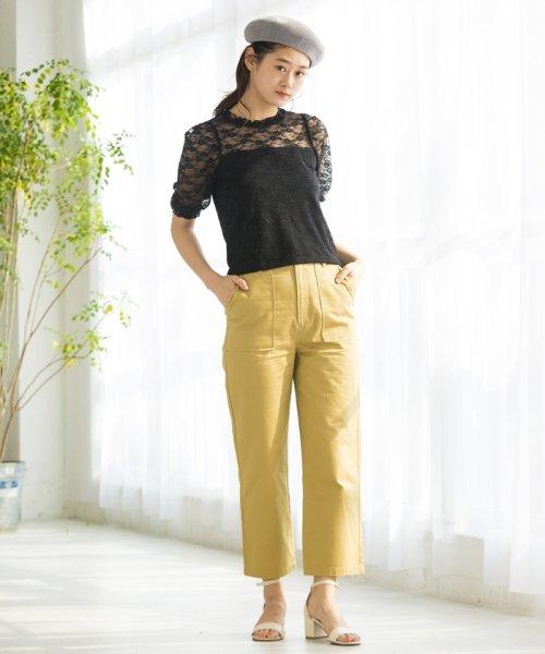 WEGO(ウィゴー)/WEGO/パフスリーブレース5分袖Tシャツ/BS18SM04L020_img11