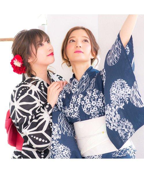 Dita(ディータ)/Dita【ディータ】1人で簡単に着られる作り帯の可愛い女性浴衣 4点フルセット(ゆかた・作り帯・下駄・着付けカタログ)レトロガーリーポップ/dl-2018kimuface27_img03