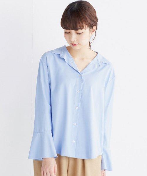 haco!(ハコ)/これ1枚で女っぽさを手に入れる なめらか素材の袖フレアーシャツ/449536_img32