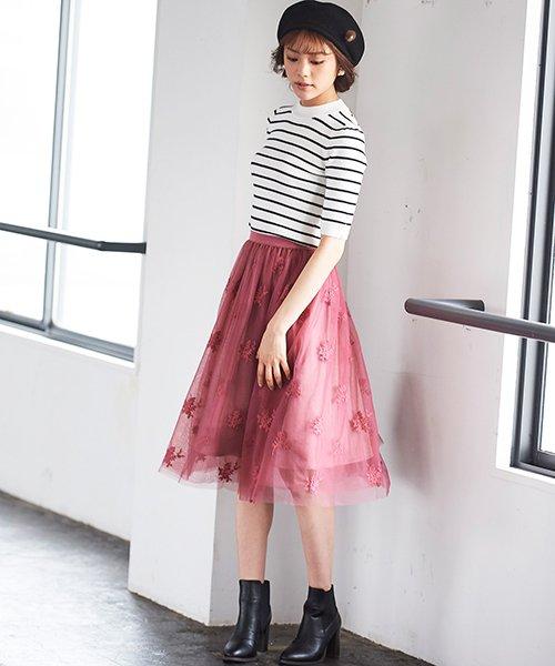 31 Sons de mode(トランテアン ソン ドゥ モード)/チュール刺繍スカート/0038305_img03