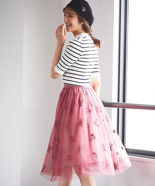 31 Sons de mode(トランテアン ソン ドゥ モード)/チュール刺繍スカート/0038305_img08