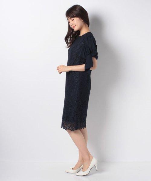 Eimy Peral(エイミーパール(ドレス))/ミゴロレース半袖シフォンリボン付ドレス/728849_img04
