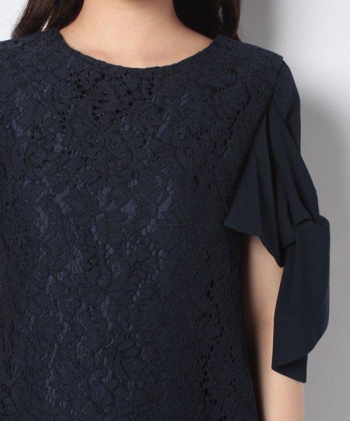 Eimy Peral(エイミーパール(ドレス))/ミゴロレース半袖シフォンリボン付ドレス/728849_img06