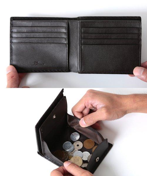 81d410f2ed57 JIGGYS SHOP(ジギーズショップ)/本革 カーボン レザー 二つ折り財布 /