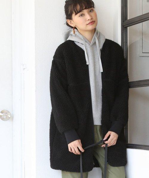 coen(コーエン)/【WEB限定】ノーカラーボアブルゾン (ロング)/76606068074_img13
