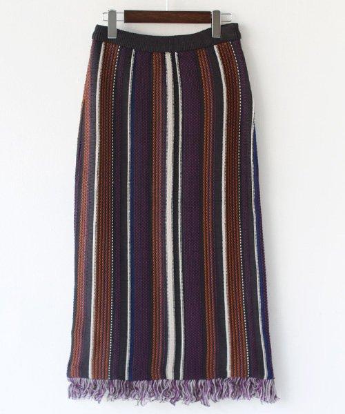 REAL CUBE(リアルキューブ)/CLOCHE 日本製 マルチストライプジャガードスカート/852-86514_img02
