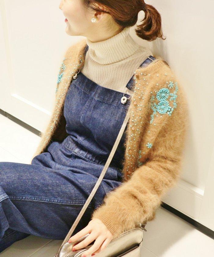 アンゴラ混ビーズ刺繍カーディガン
