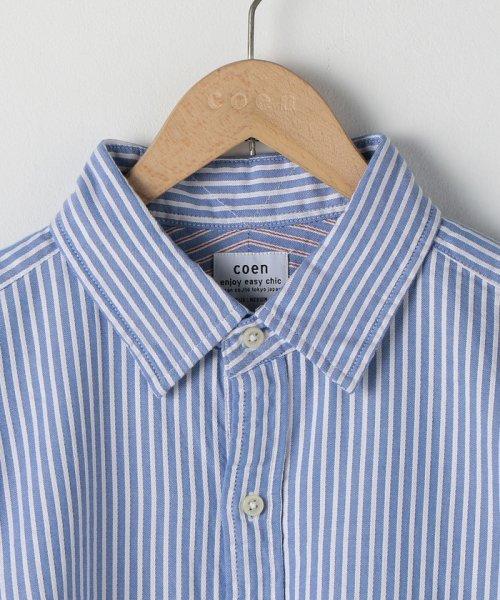 coen(コーエン)/オックスフォードドビーストライプレギュラーカラーシャツ/75106048108_img02