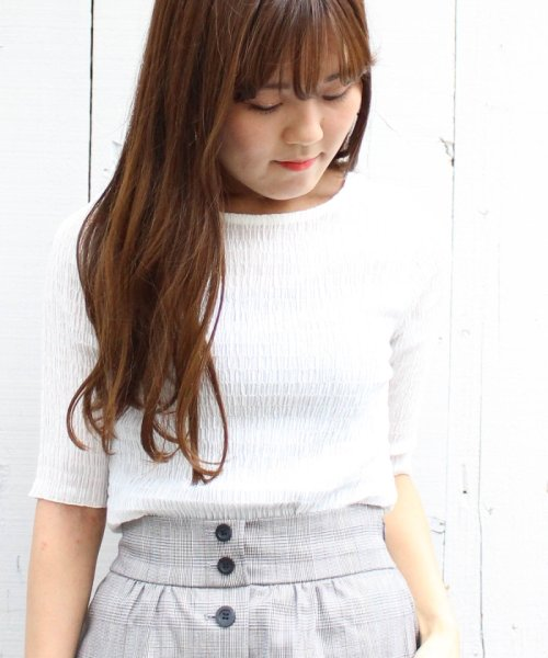le.coeur blanc OUTLET(ルクールブラン アウトレット)/シャーリング5分袖プルオーバー/3086014510_img05
