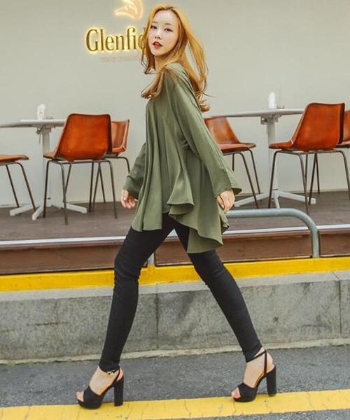 ひらひらガーリーカットソー 韓国 ファッション レディース