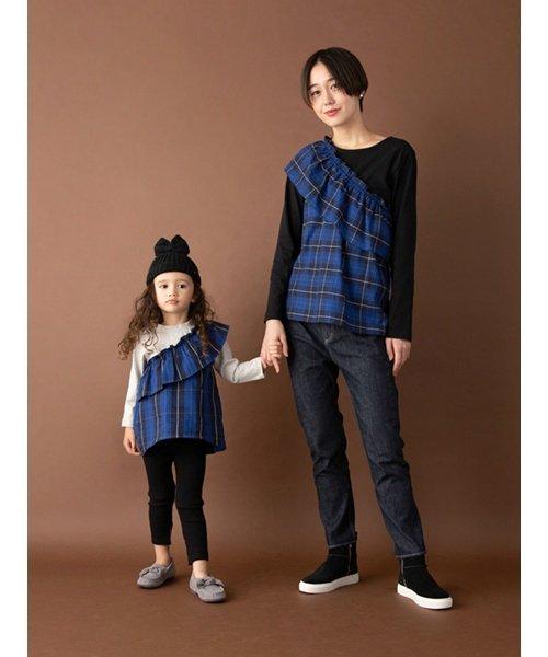 petit main(プティマイン)/チェック柄ドッキングTシャツ/9683216_img02