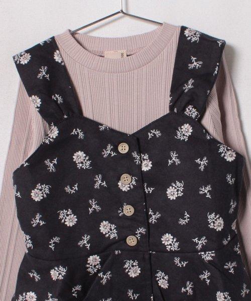 petit main(プティマイン)/花柄エプロンキャミソール×リブTシャツセット/9683215_img03