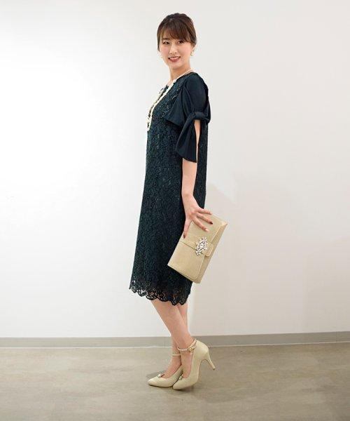 Eimy Peral(エイミーパール(ドレス))/ミゴロレース半袖シフォンリボン付ドレス/728849_img01