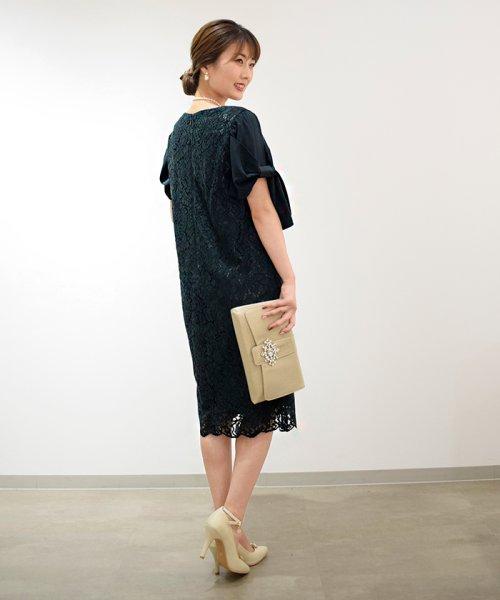Eimy Peral(エイミーパール(ドレス))/ミゴロレース半袖シフォンリボン付ドレス/728849_img02