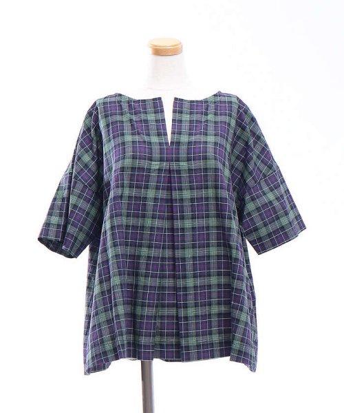collex(collex)/コットンリネンチェックシャツ/60370605001_img04