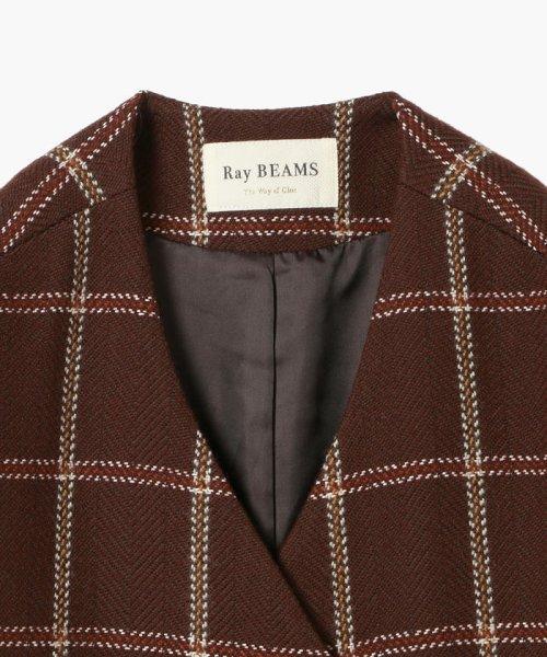 Ray BEAMS(レイビームス)/Ray BEAMS / チェック ノーカラー Vネック コート/63190188690_img04