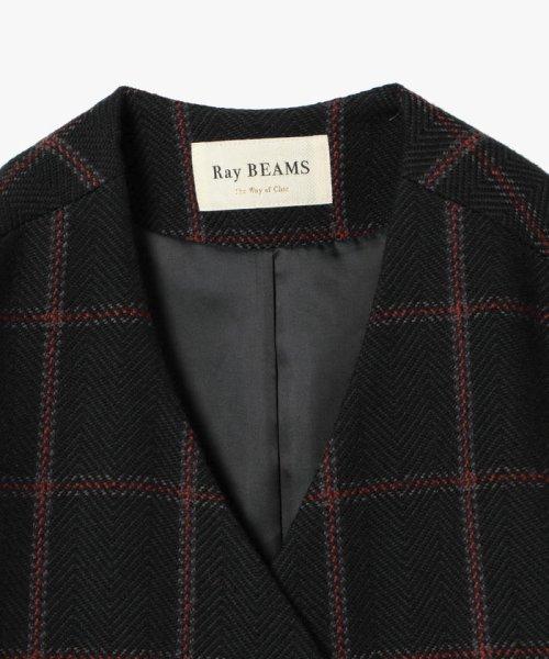 Ray BEAMS(レイビームス)/Ray BEAMS / チェック ノーカラー Vネック コート/63190188690_img09