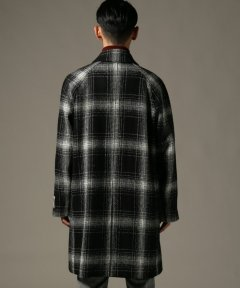 Harris Tweed Split Raglan Coat 18020300200230: Black