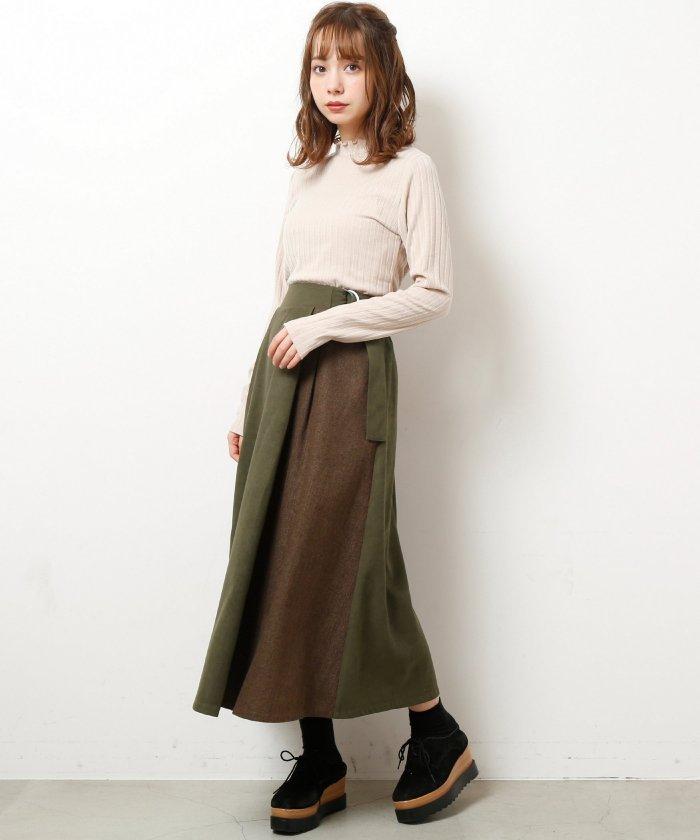 レイカズン  異素材ラップスカート