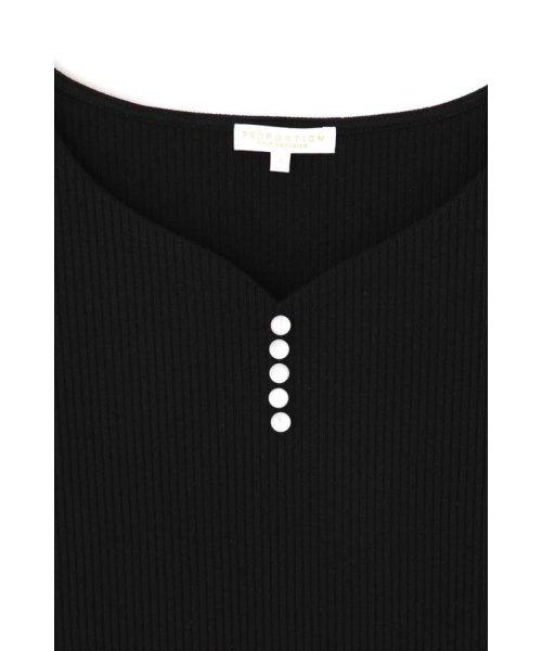 PROPORTION BODY DRESSING(プロポーション ボディドレッシング)/ハートネックフロント釦メローリブテレコカットソー/1219160401_img02