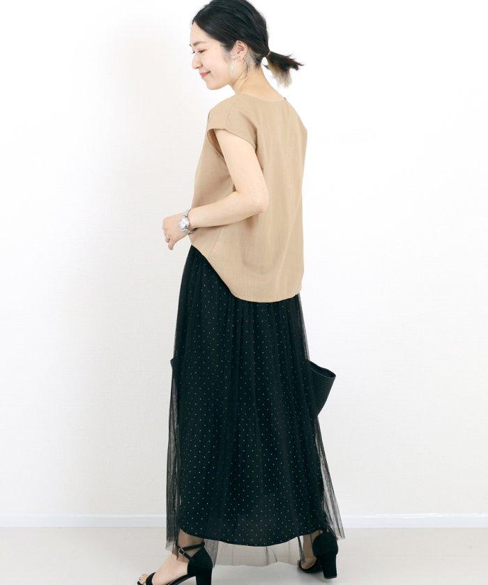 FUNNY COMPANY+ ランダムプリーツチュールドットスカート