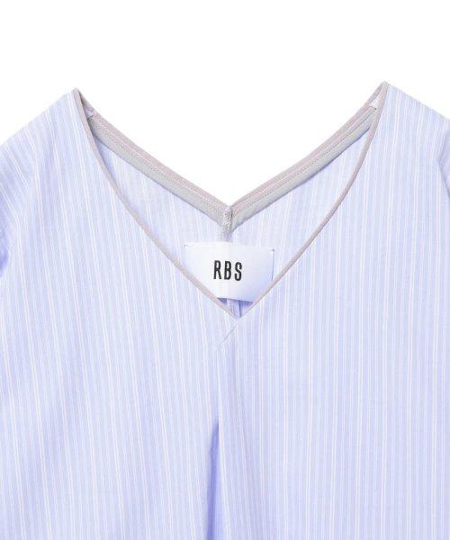 Ray BEAMS(レイビームス)/RBS / ストライプ フリンジカフス Vネック ワンピース/63260423111_img05