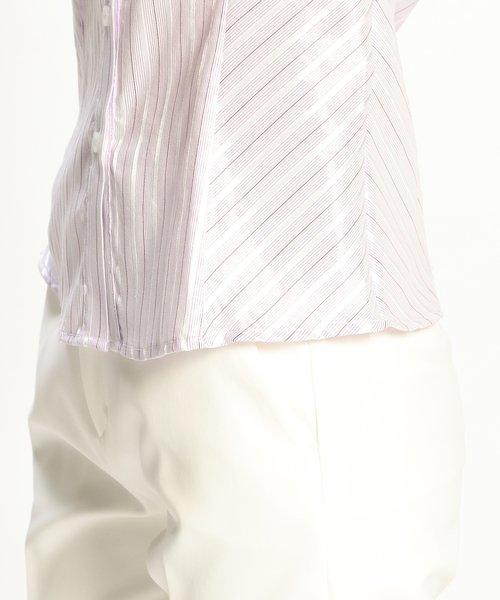 NARA CAMICIE(ナラカミーチェ)/イタリアン細ストライプスタンドカラー七分袖シャツ/109102010_img12