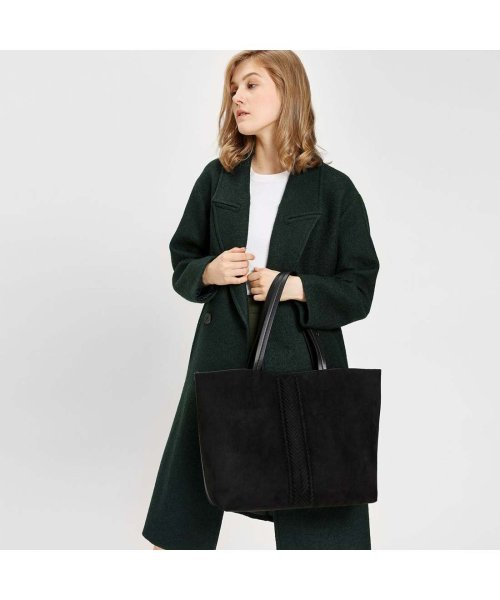 CHARLES & KEITH(チャールズ アンド キース)/ウェーブディテール トートバッグ / Weave Detail Tote Bag (Black)/CH1328AW11050_img01