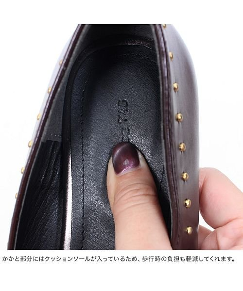 Pierrot(ピエロ)/スタッズデザイン フラットシューズ☆ スクエアカット ポインテッドトゥ スタッズ フラットシューズ 靴 ローヒール 上品 スムース SM L LL Pierro/g1805-043320_img09