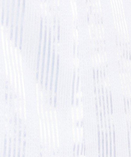 NARA CAMICIE(ナラカミーチェ)/ストレッチサテンストライプスタンドフリル七分袖ブラウス/109102004_img03