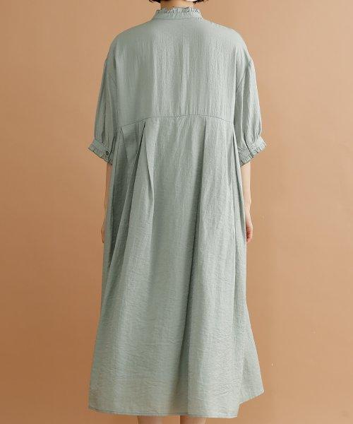 merlot(メルロー)/【plus】レーヨン混バルーンスリーブフリル襟ワンピース/00010012-878210007572_img03