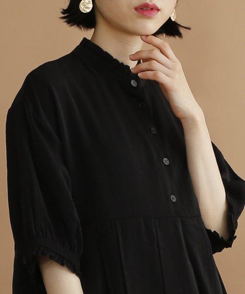merlot(メルロー)/【plus】レーヨン混バルーンスリーブフリル襟ワンピース/00010012-878210007572_img04