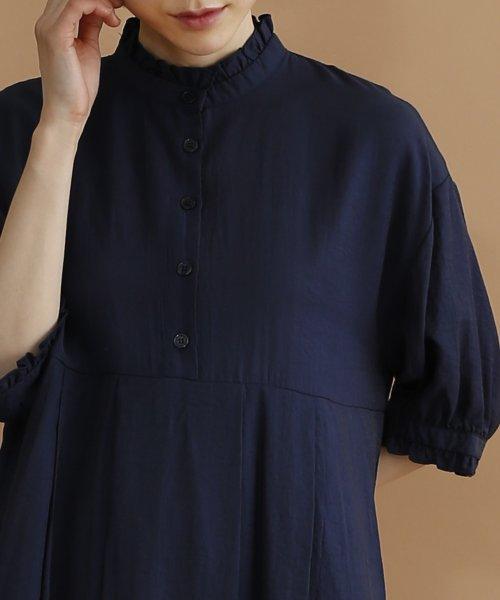 merlot(メルロー)/【plus】レーヨン混バルーンスリーブフリル襟ワンピース/00010012-878210007572_img05