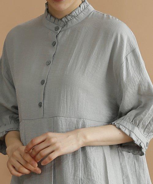 merlot(メルロー)/【plus】レーヨン混バルーンスリーブフリル襟ワンピース/00010012-878210007572_img06